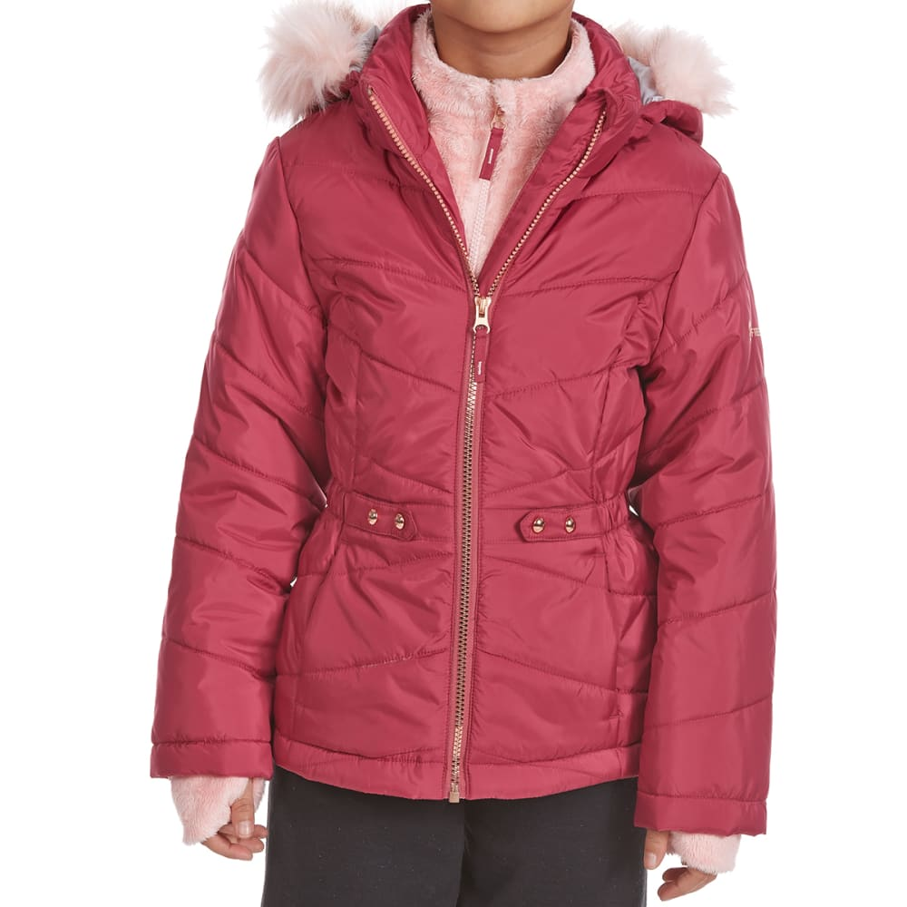 FREE COUNTRY Big Girls' Quilted Mid-Length Bib Jacket - FADED ROSE