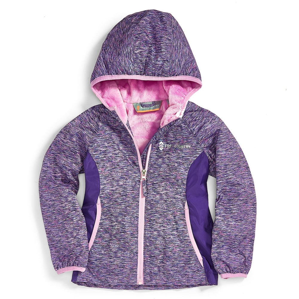 FREE COUNTRY Big Girls' Snowy Space Dye Butterpile Softshell Jacket - LILAC WINTER