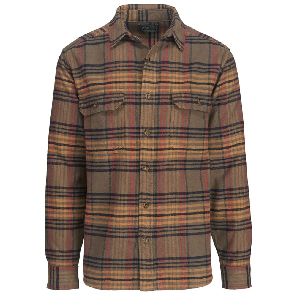 WOOLRICH Men's Oxbow Bend Plaid Flannel Shirt, Classic Fit - BUNGEE CORD