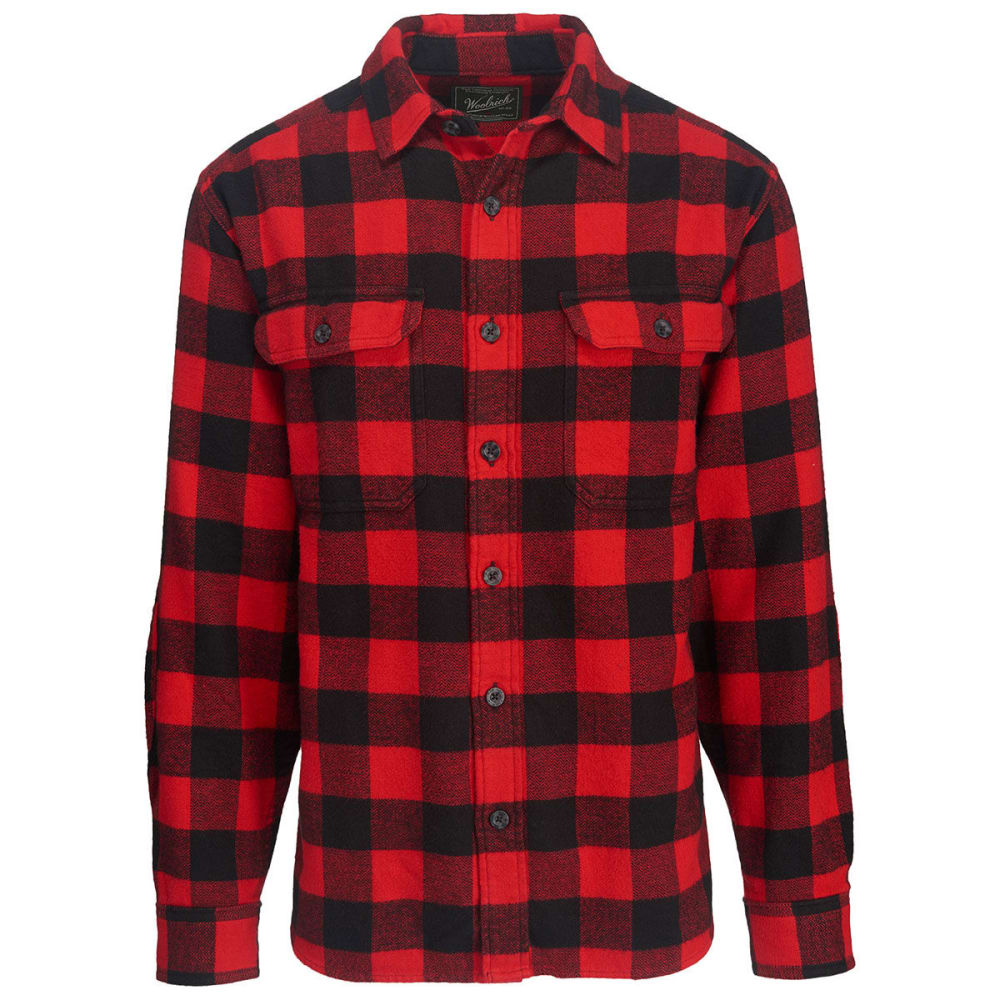 WOOLRICH Men's Oxbow Bend Plaid Flannel Shirt, Modern Fit - BLACK/RED