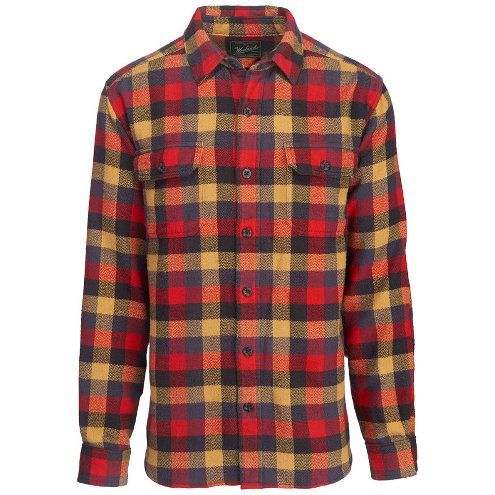 WOOLRICH Men's Oxbow Bend Plaid Flannel Shirt, Modern Fit - RED MULTI
