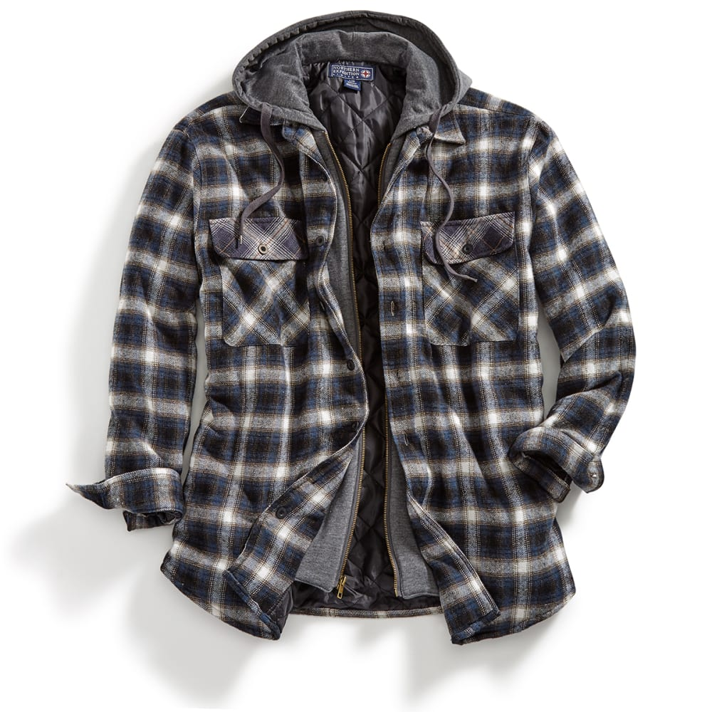 NORTHERN EXPEDITION Men's Dakota Quilted Lined Hooded Long-Sleeve Flannel - 129 MIDNIGHT