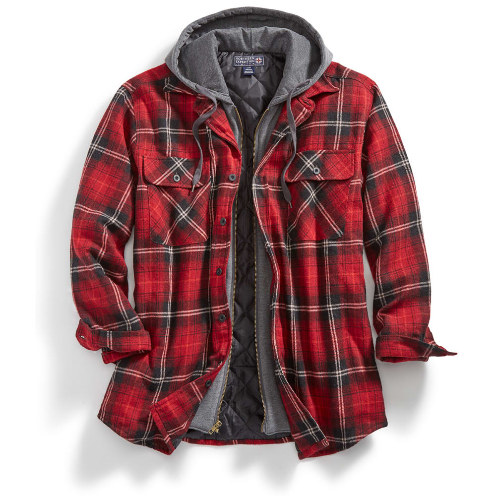 Northern Expedition Men's Dakota Quilted Lined Hooded Long Sleeve Flannel by Northern Expedition Men's Dakota Quilted Lined Hooded Long Sleeve Flannel