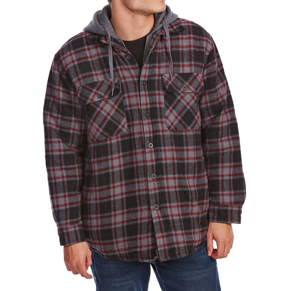 NORTHERN EXPEDITION Men's Dakota Quilted Lined Hooded Long-Sleeve Flannel - 193 BURGUNDY
