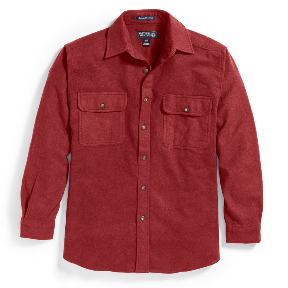 NORTHERN EXPEDITION Men's Solid Chamois Long-Sleeve Shirt - BURGUNDY BG