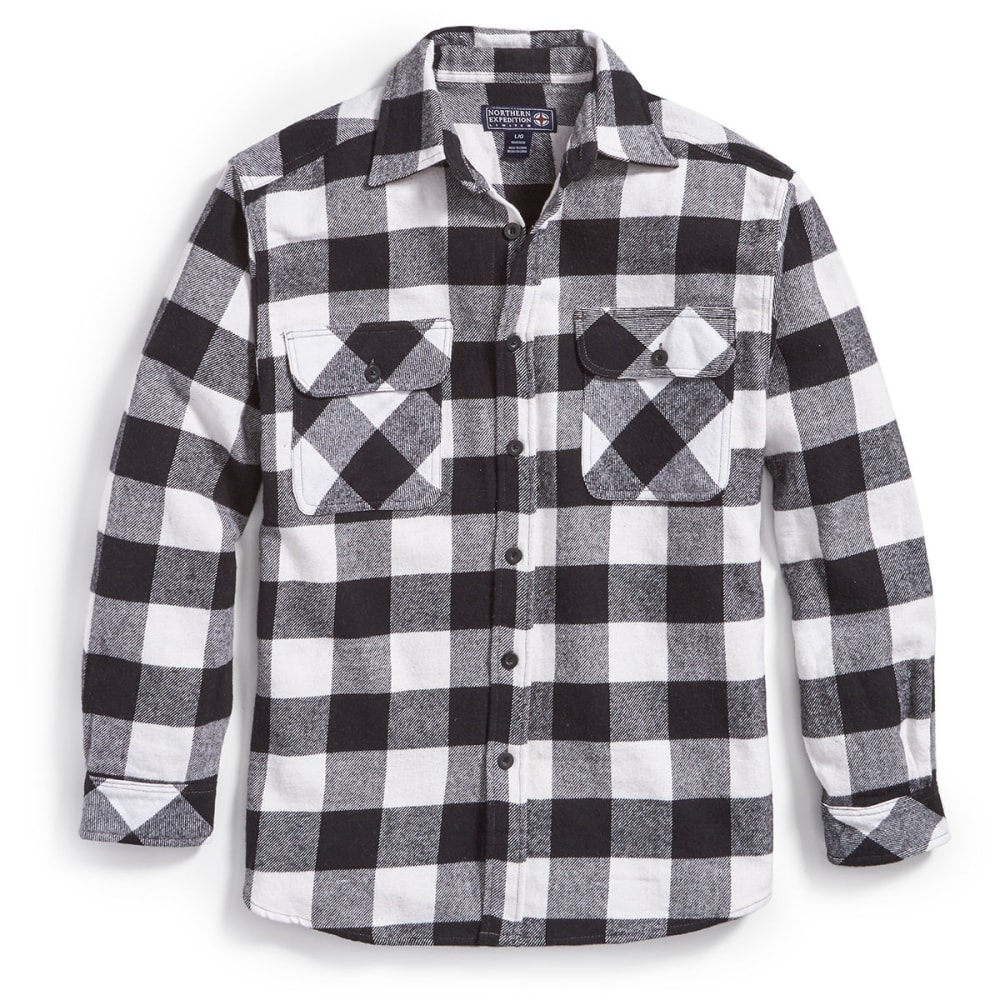 NORTHERN EXPEDITION Men's Brawny Plaid Flannel Shirt - WB WHT/BLK BUFFALO