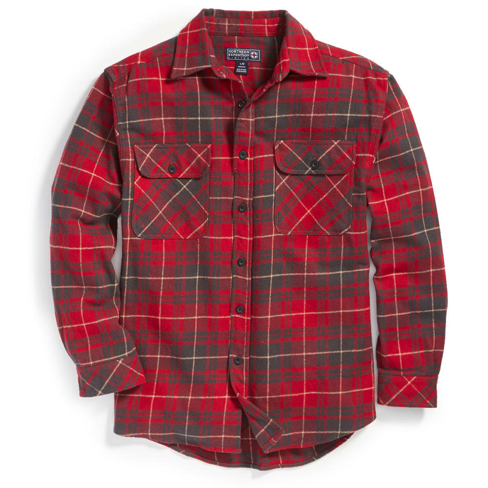 NORTHERN EXPEDITION Men's Brawny Plaid Flannel Shirt - RD RED/CHAR