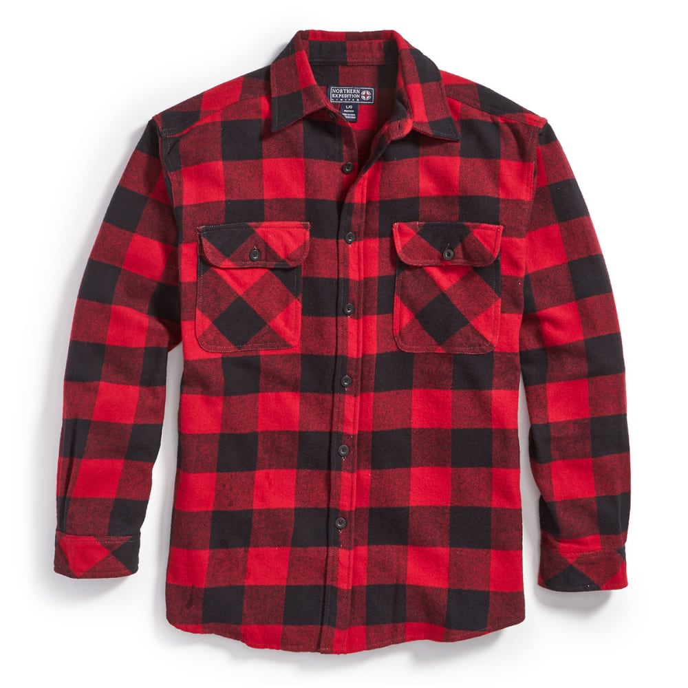 Northern Expedition Men's Brawny Plaid Flannel Shirt - Red, L