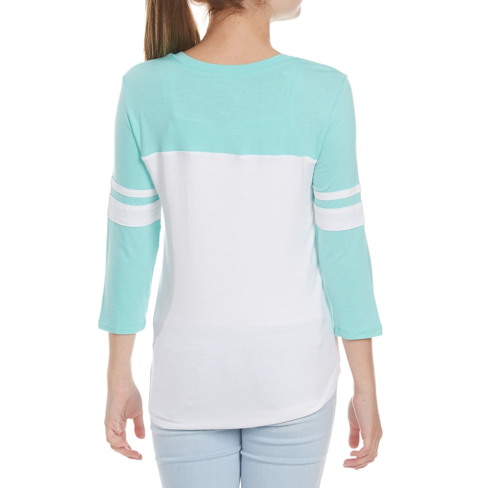 MISS CHIEVOUS Girls' Stay Gold ¾ Sleeve Varsity Knit Top - SPARKLING MINT/WHITE