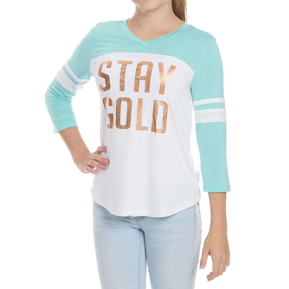 MISS CHIEVOUS Girls' Stay Gold 3/4-Sleeve Varsity Knit Top S