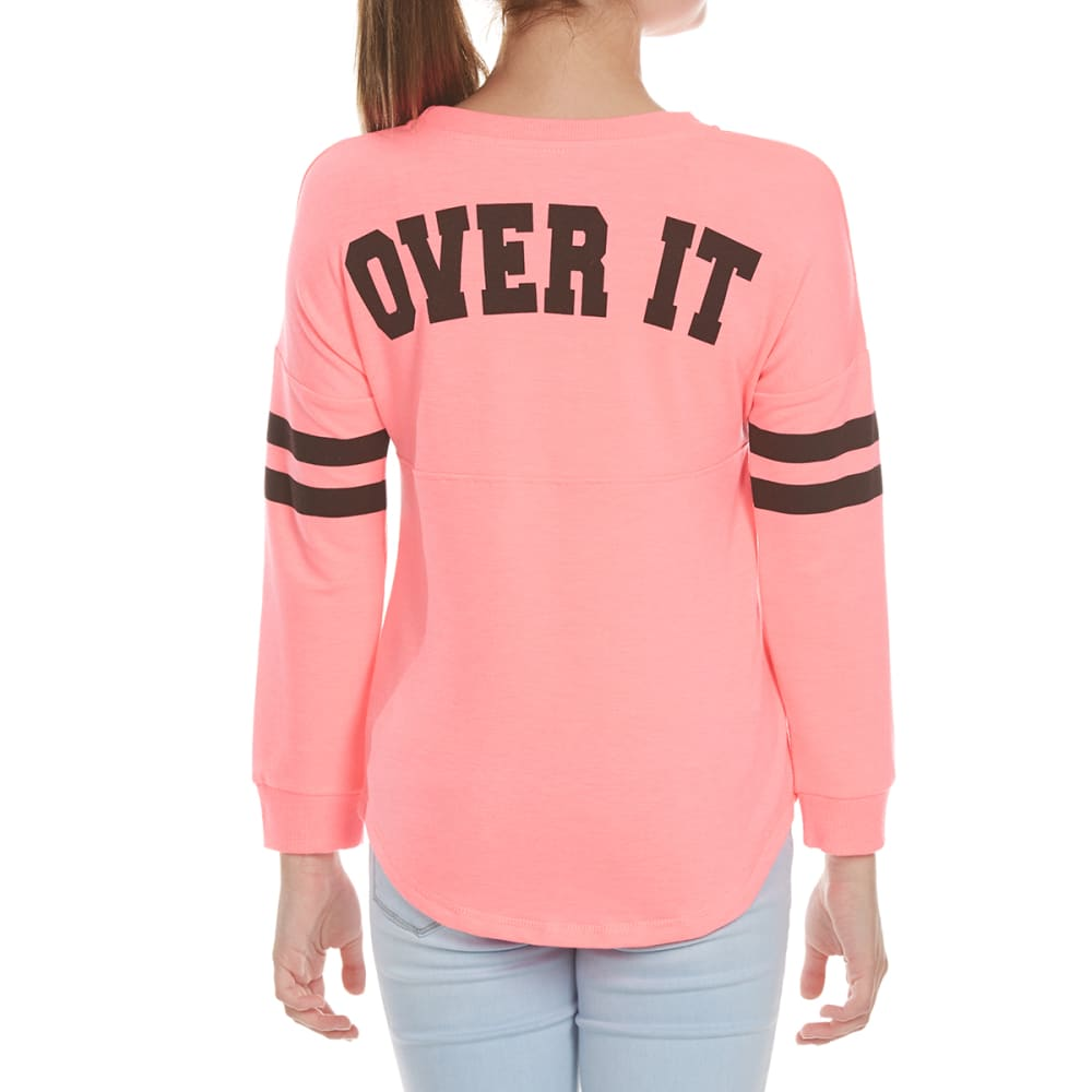 MISS CHIEVOUS Girls' Over It Long Sleeve Sweeper Top - PINK BLAST