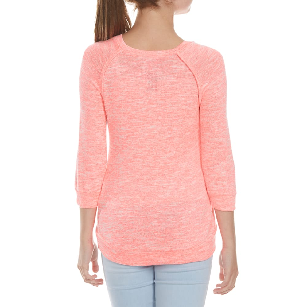 MISS CHIEVOUS Girls' Happy Emoji Sequin Hacci Tunic - CORAL FREEZE