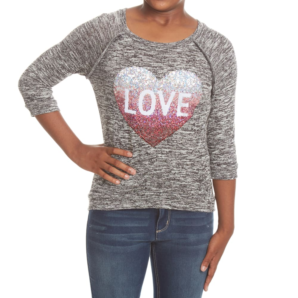 MISS CHIEVOUS Girls' Love Sequin Hacci Long-Sleeve Tunic Top - SS BLACK
