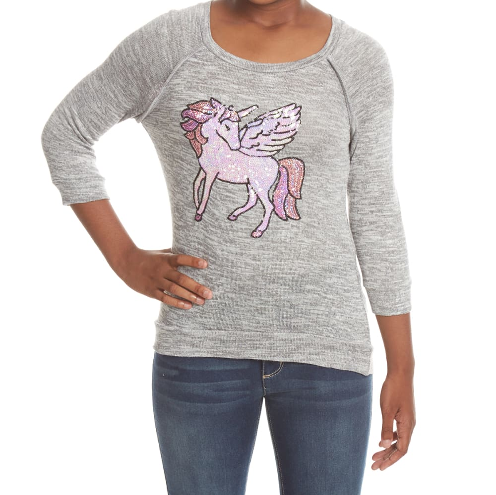 MISS CHIEVOUS Girls' Pegasus Sequin Hacci Long-Sleeve Tunic Top - BEACH FOG