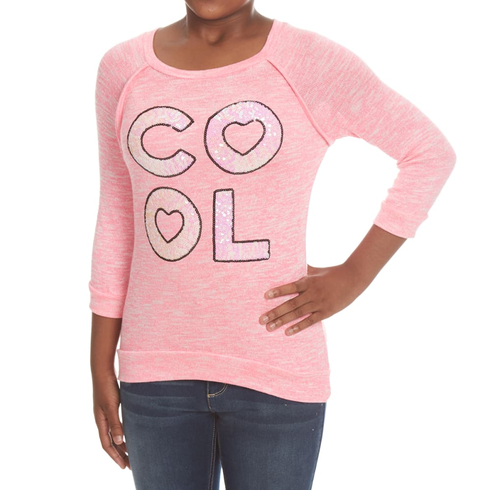 MISS CHIEVOUS Girls' Cool Sequin Hacci Long-Sleeve Tunic Top - PINK BURST