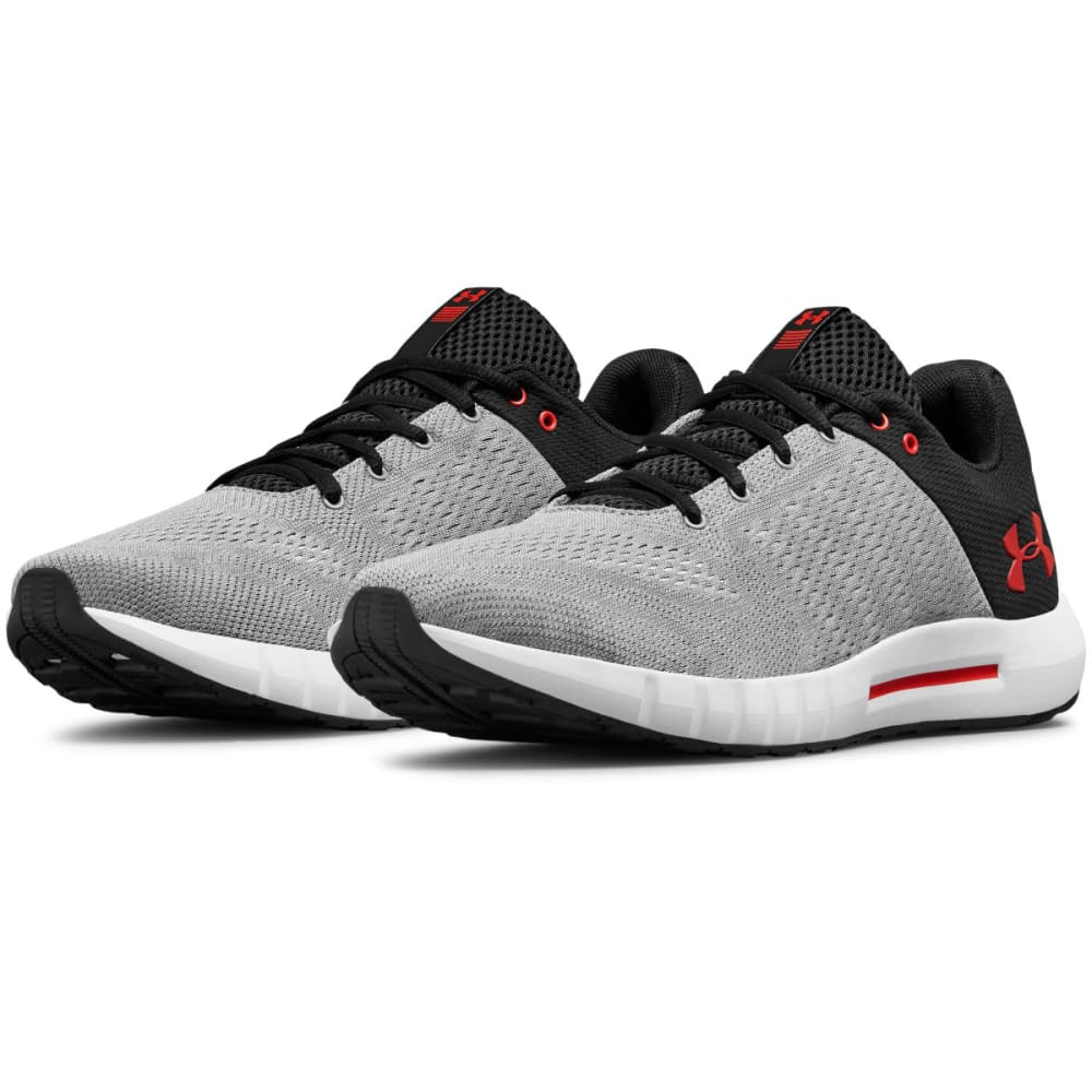 UNDER ARMOUR Men's Micro G Pursuit Running Shoes - STEEL/GRAY/RED-101