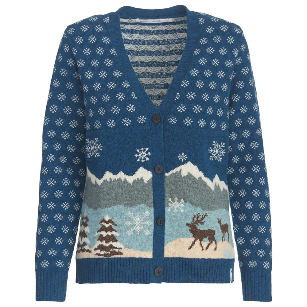WOOLRICH Women's Chimney Peak Holiday Motif Cardigan Sweater - WINTER MOTIF
