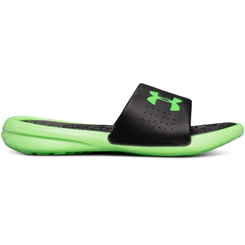 UNDER ARMOUR Big Boys' UA Playmaker Fixed Strap Slide Sandals - BLACK/GREEN
