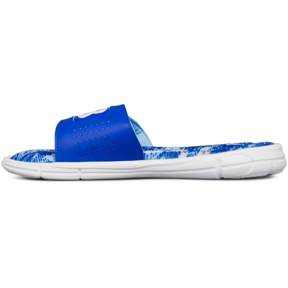 UNDER ARMOUR Big Boys' UA Ignite V Vertigo Slide Sandals - WHITE/BLUE