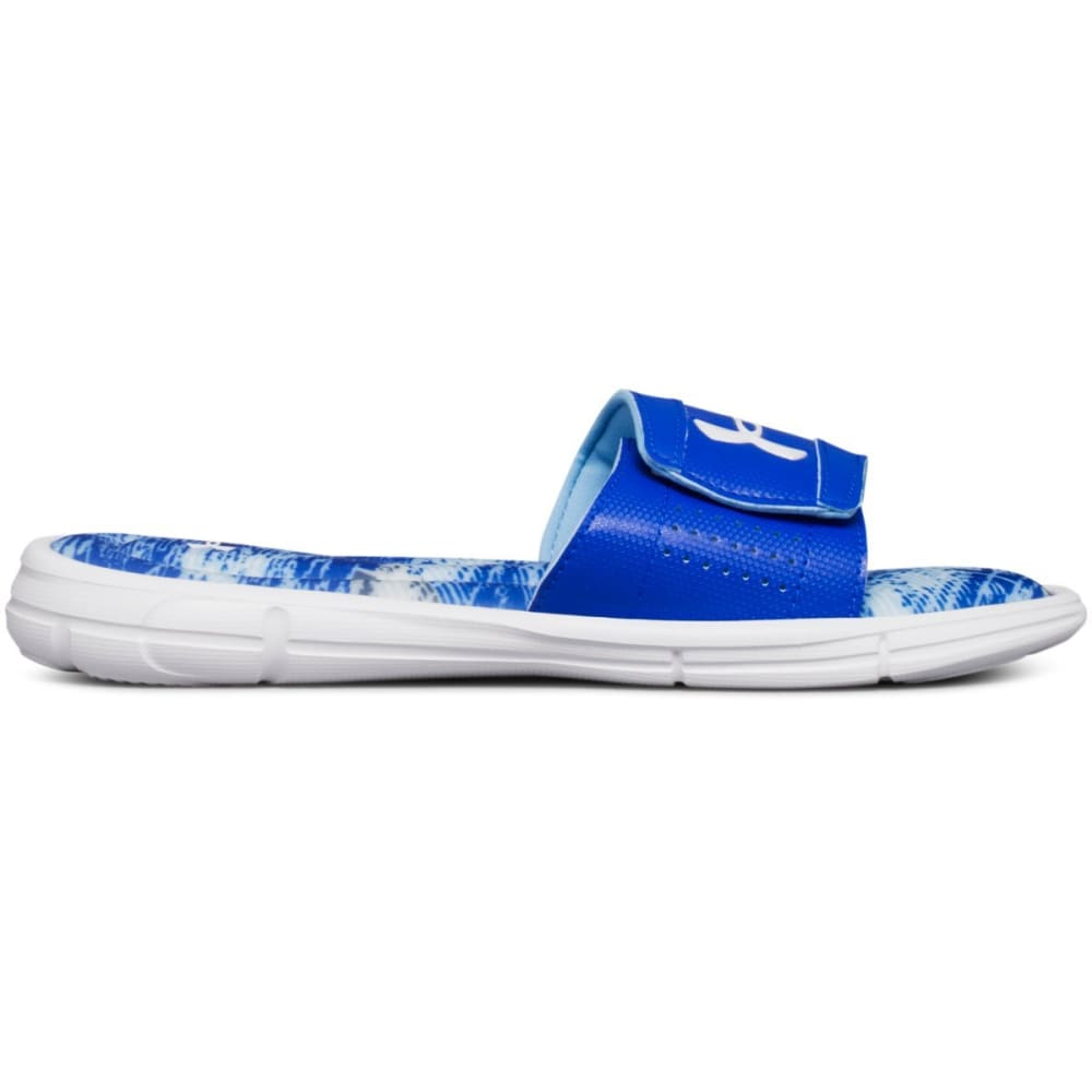 UNDER ARMOUR Big Boys' UA Ignite V Vertigo Slide Sandals - WHITE/BLUE