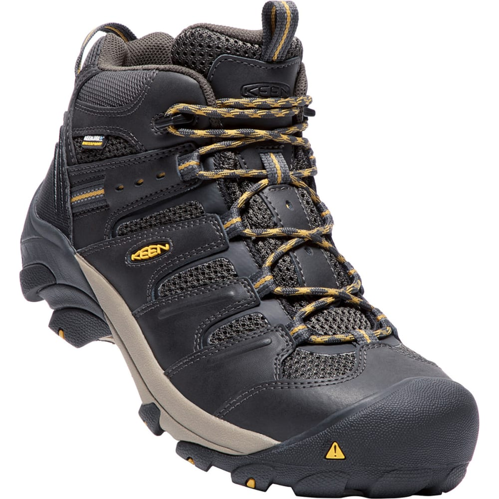 Keen Men's Lansing Waterproof Mid Steel Toe Boot - Black, 8.5
