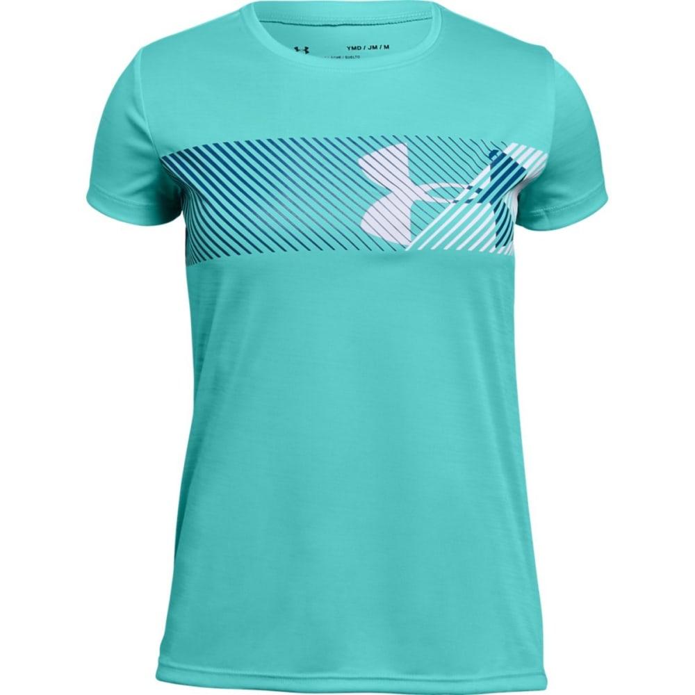 Under Armour Big Girls' Ua Hybrid Big Logo Short-Sleeve Tee - Blue, S