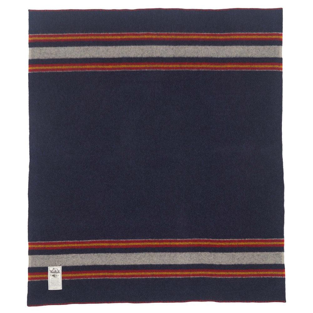 WOOLRICH Camp Wool Blanket - NAVY HEATHER
