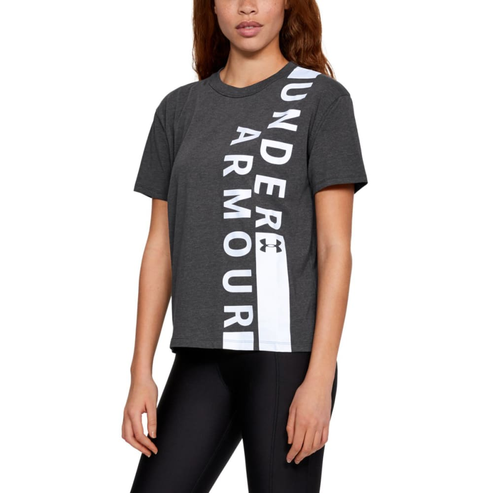 UNDER ARMOUR Women's UA Girlfriend Wordmark Crew Short-Sleeve Tee - CHARCOAL-020