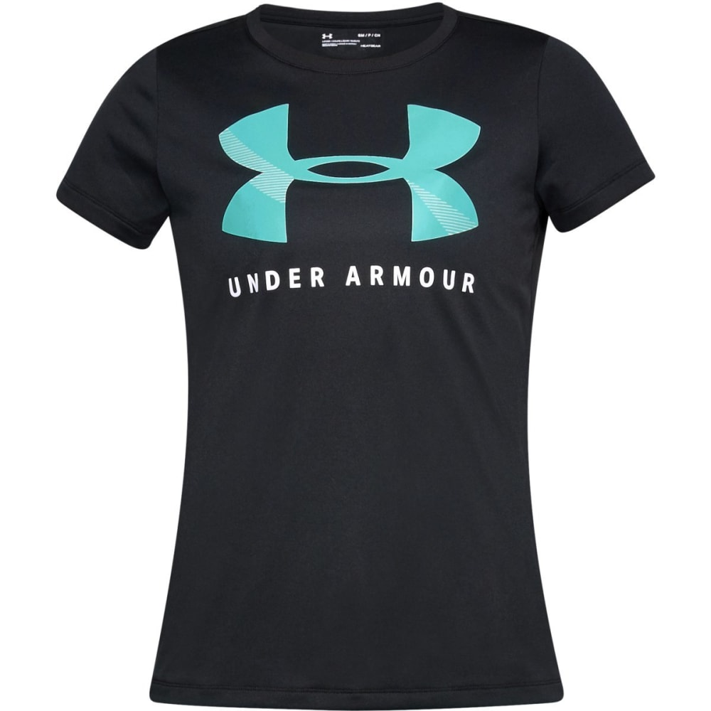 UNDER ARMOUR Women's UA Tech Graphic Logo Tee - BLK/TROPICAL TDE-001