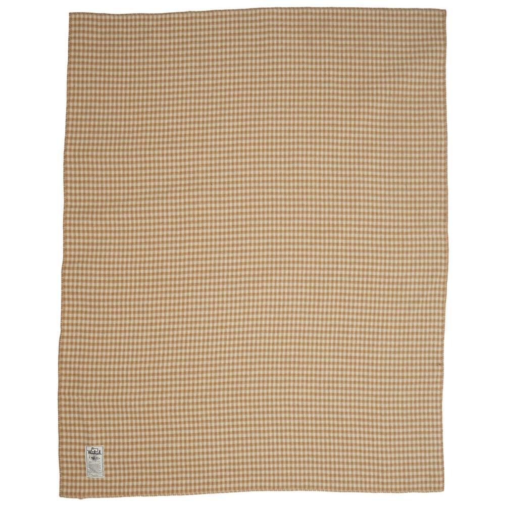 WOOLRICH Mini Buffalo Double-Face 100% Soft Wool Blanket - CAMEL