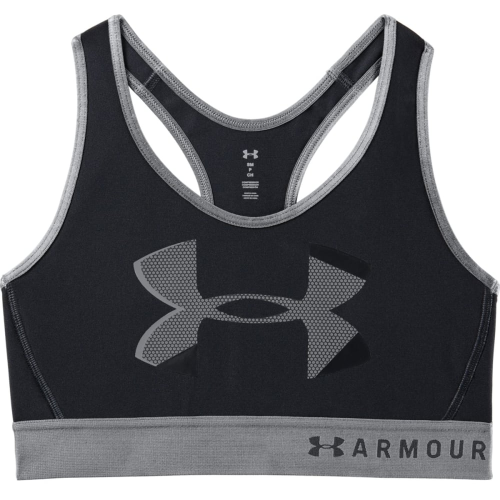 Under Armour Women's Armour Mid Big Logo Sports Bra - Black, L
