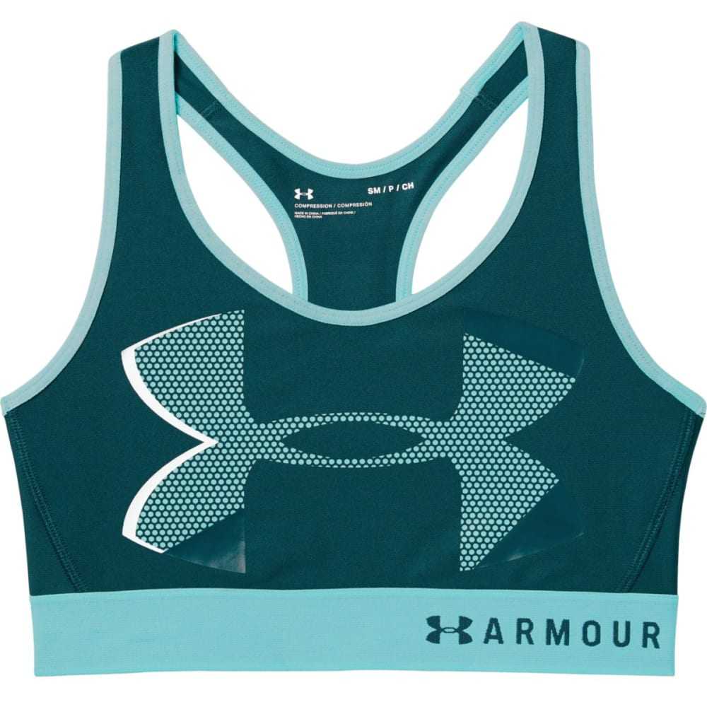 Under Armour Women's Armour Mid Big Logo Sports Bra - Green, M