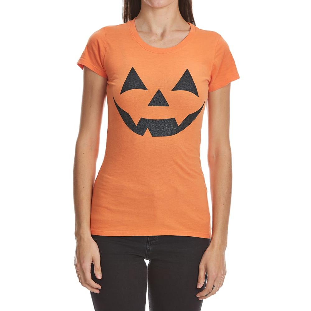 HYBRID Juniors' Pumpkin Smile Halloween Tee - ORANGE