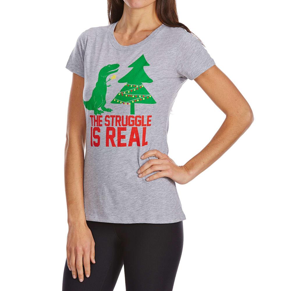 COLD CRUSH Juniors' Christmas T-Rex Struggle Short-Sleeve Tee - HTHR GREY