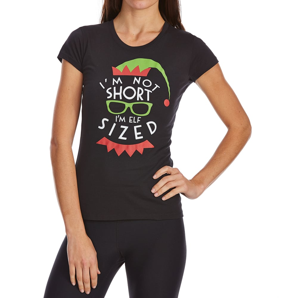 COLD CRUSH Juniors' Christmas Elf Sized Short-Sleeve Tee - BLACK