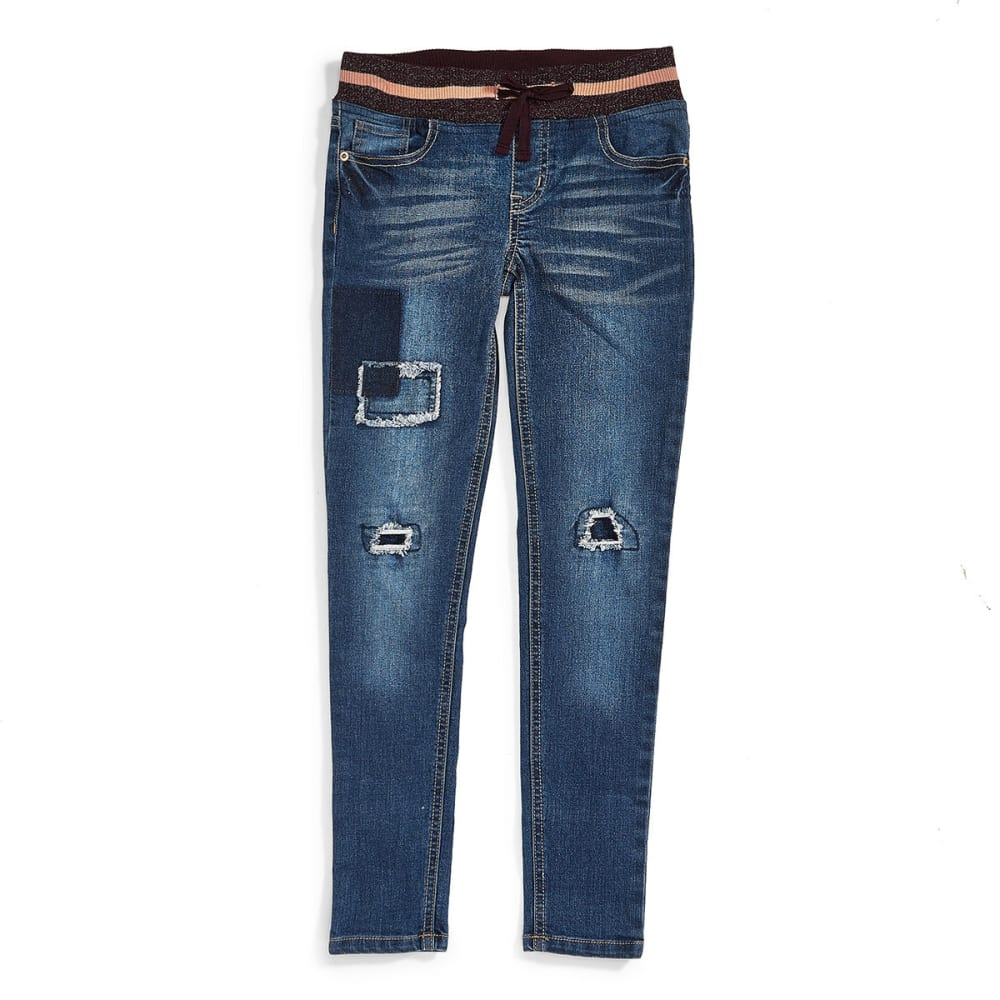 VANILLA STAR Big Girls' Knit Waistband Destructed Skinny Jeans - WARREN WASH