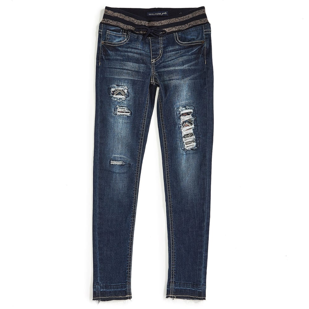 VANILLA STAR Girls' Knit Waist Embroidered Destructed Jeans - ADAM WASH