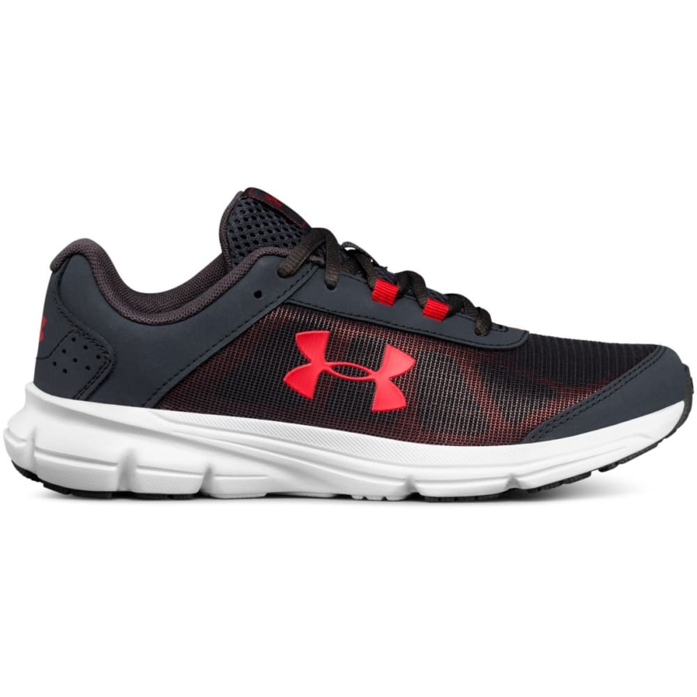UNDER ARMOUR Big Boys' Grade School UA Rave 2 Running Shoes - STEALTH GREY/WHT/RED
