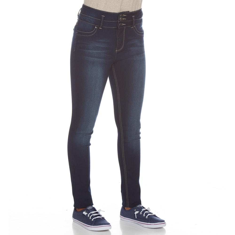 YMI Girls' Super Soft 3-Button High-Rise Skinny Jeans - S08-DARK WASH