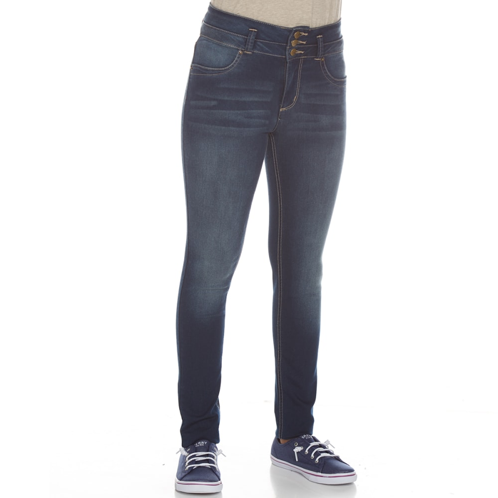 YMI Girls' Super Soft 3-Button High-Rise Skinny Jeans - T08-MED WASH