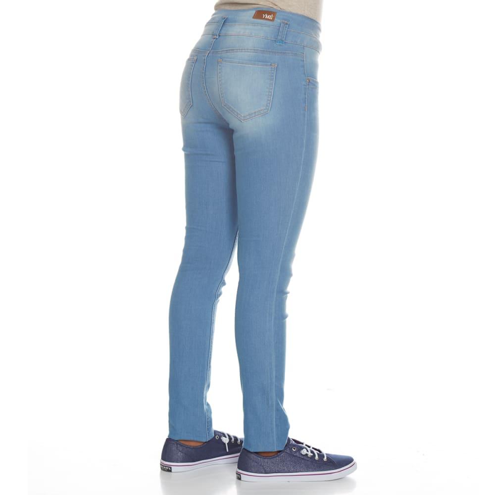YMI Girls' Super Soft 3-Button High-Rise Skinny Jeans - C08-LIGHT WASH