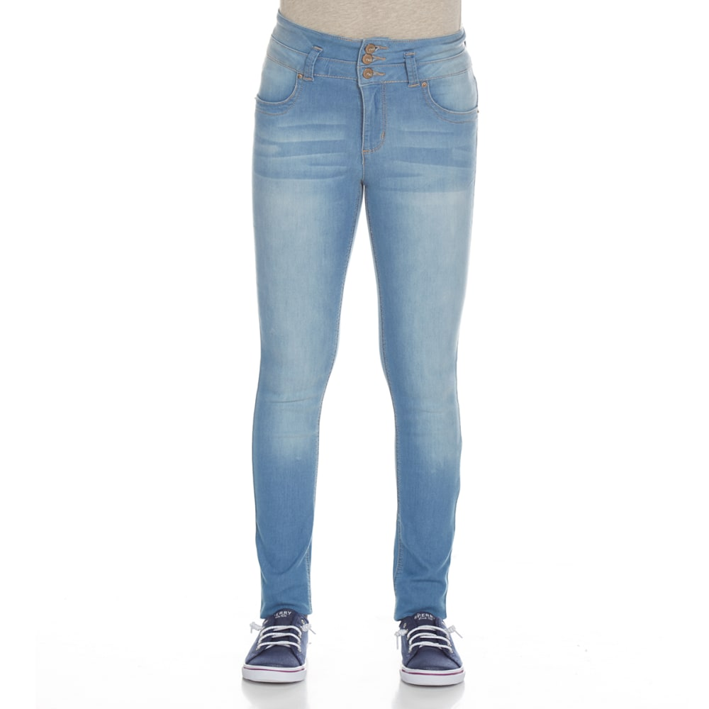YMI Girls' Super Soft 3-Button High-Rise Skinny Jeans - C08-LIGHT WASH