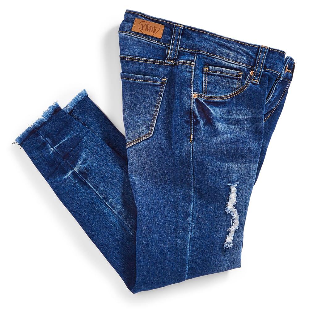 YMI Big Girls' Love Destruction Released Frayed Hem Anklet Jeans - N26-MED WASH