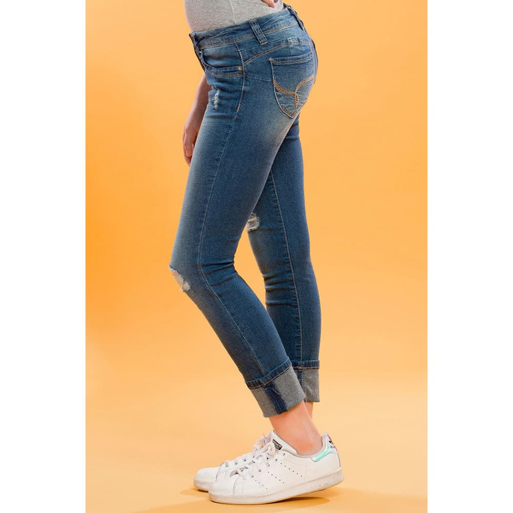 YMI Girls' WannaBettaFit Cuff Skinny Jeans - R427-MED WASH