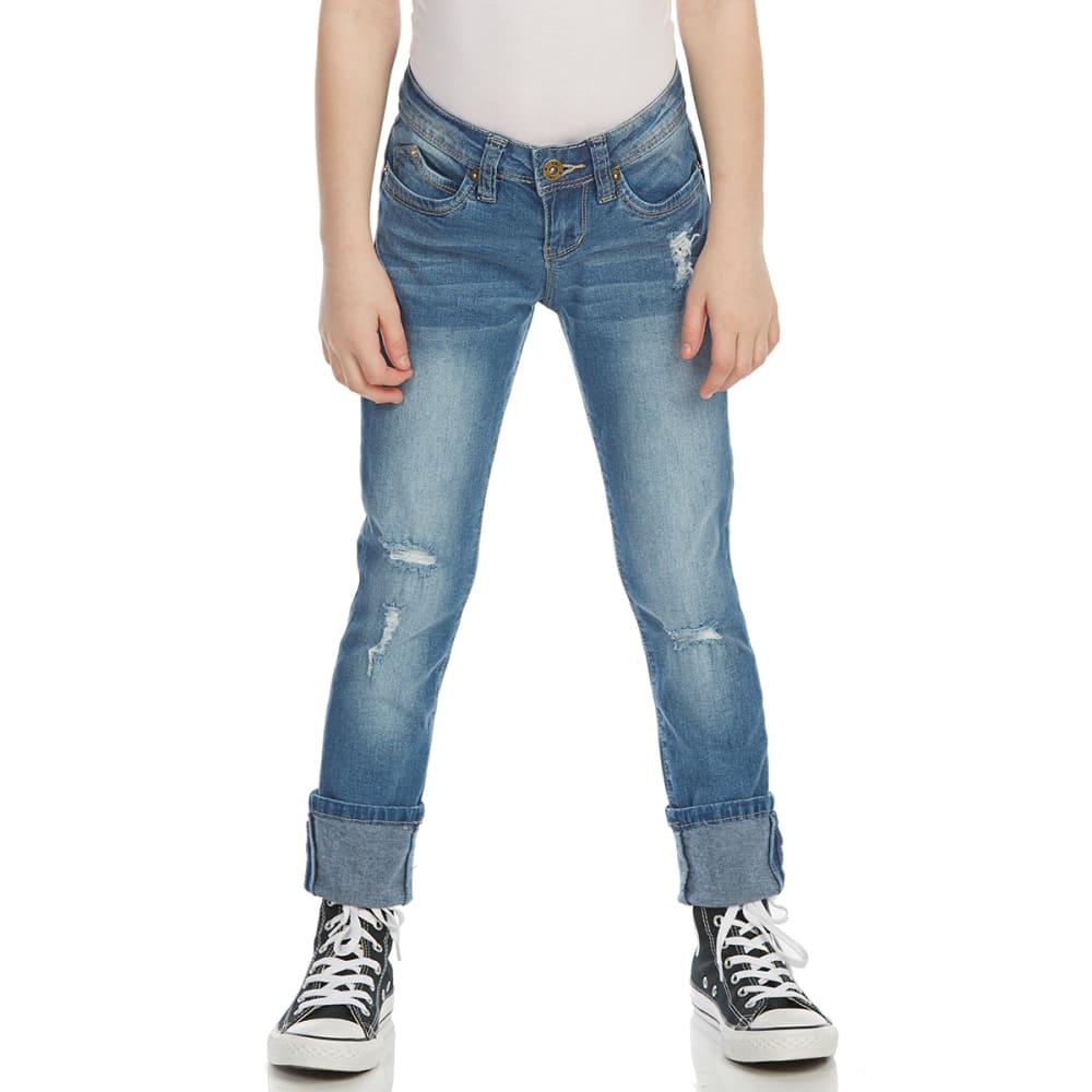 YMI Girls' WannaBettaFit Cuff Skinny Jeans - M427-MED WASH