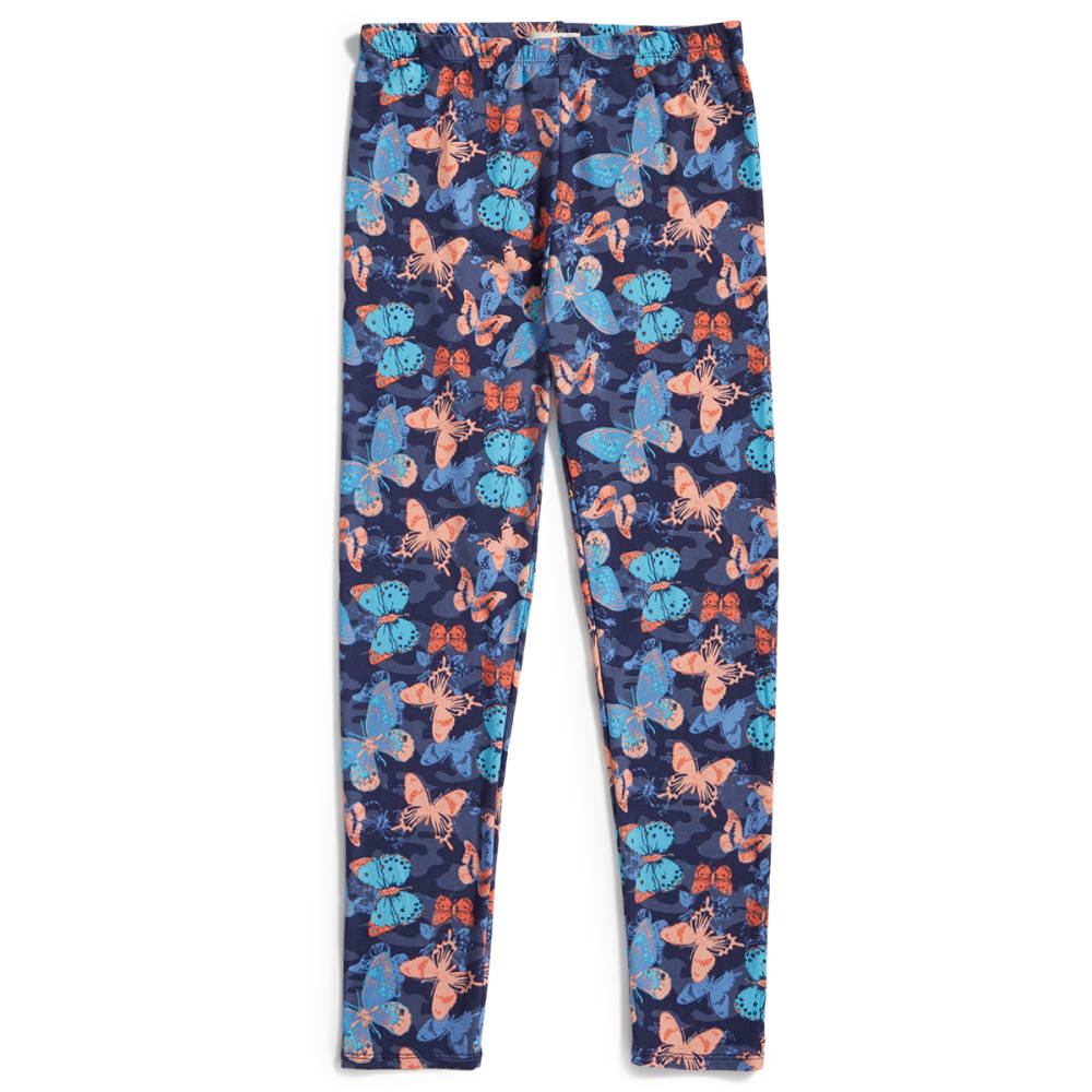 RBX Girls' Butterfly Print Peached Leggings - MEDIEVAL BLUE MULTI