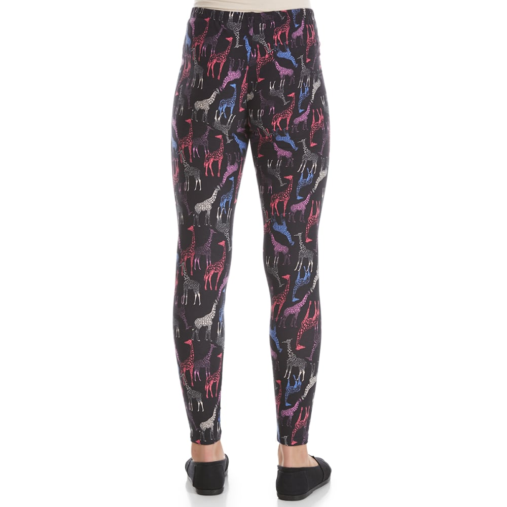 RBX Girls' Giraffe Print Peached Leggings - BLACK MULTI