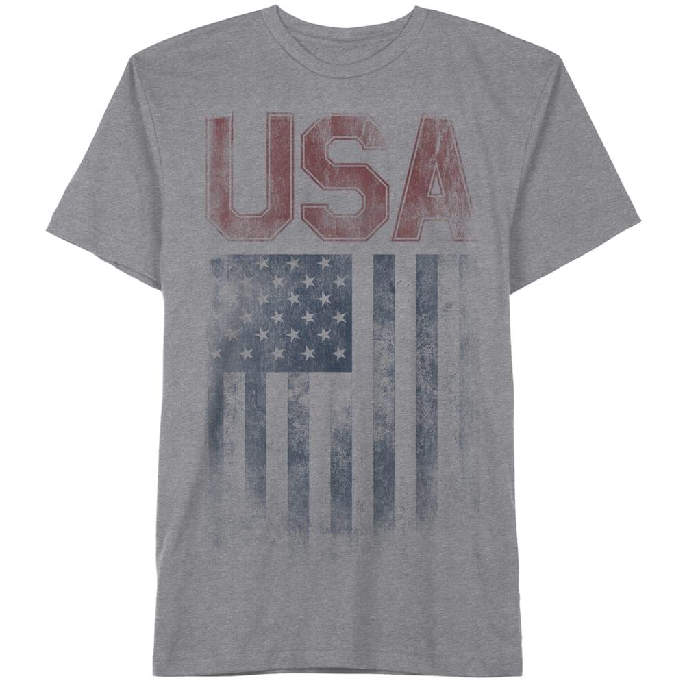 HYBRID Guys' Rugged USA Flag Tee - HTR GRY