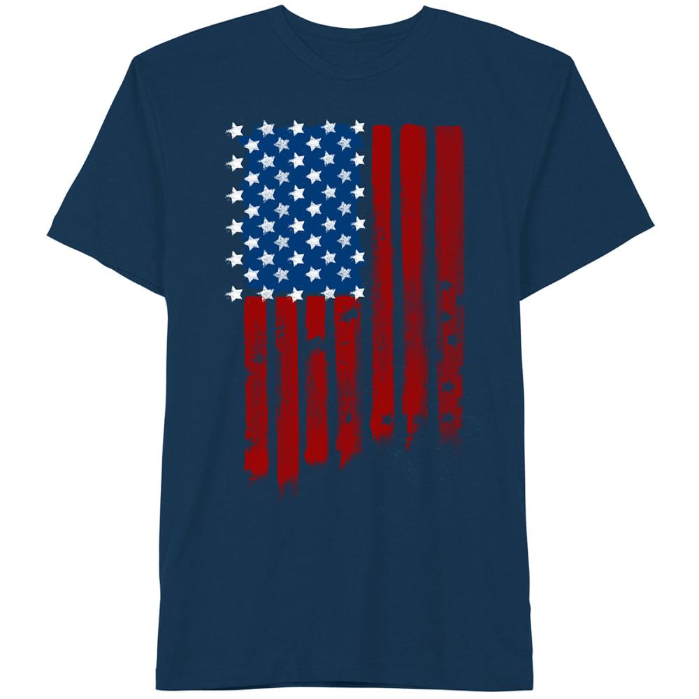 D55 Guys' White Stars U.S. Flag Short-Sleeve Tee - NAVY