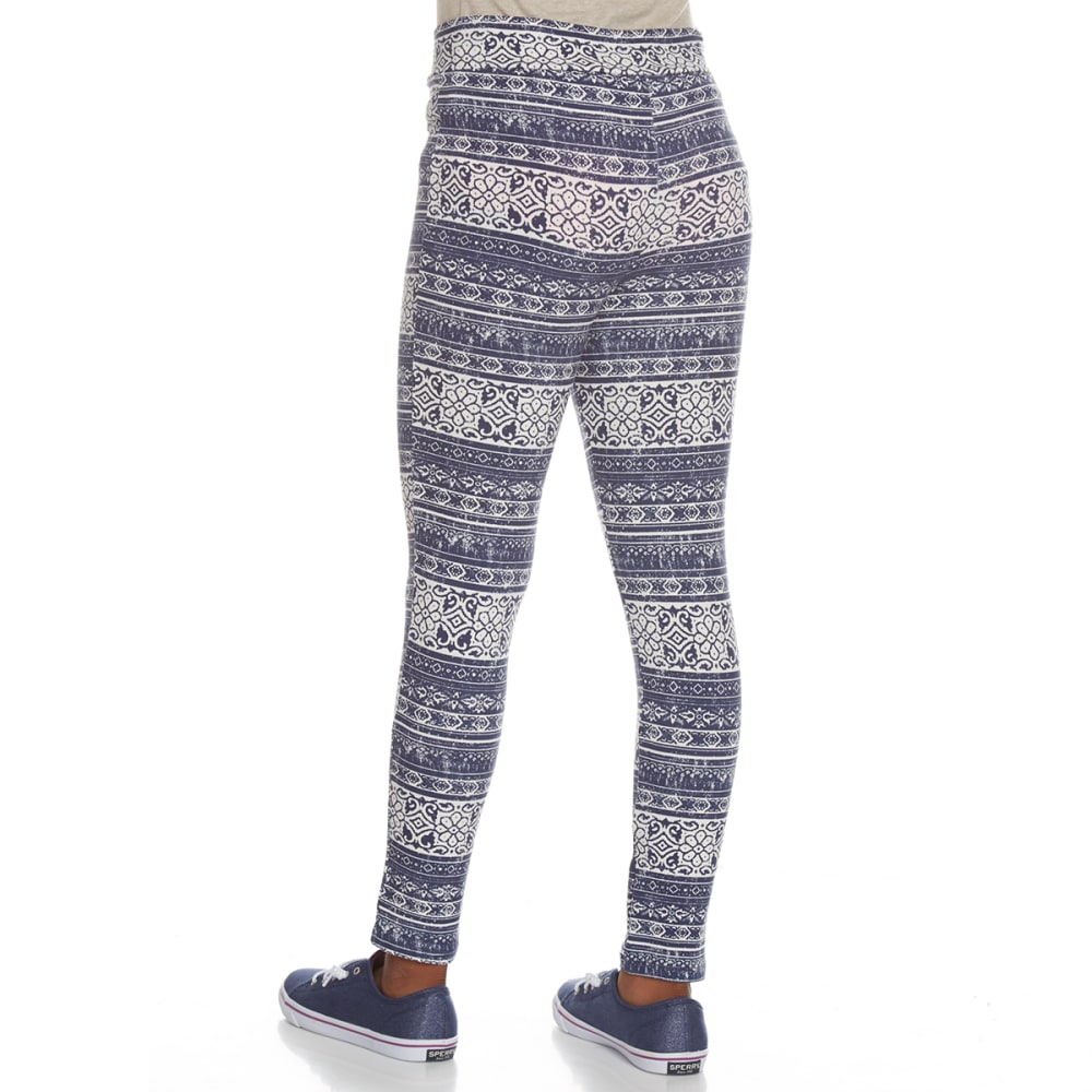 POOF Girls' Peached Printed Leggings - INDIGO/IVORY MULTI